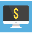 Computer Display and Dollar Sign Icon vector image vector image