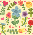 Cute doodle hand drawn flowers set vector image vector image