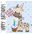 Cute Giraffe with cake vector image vector image