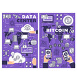 data cloud storage and bitcoin cryptocurrency vector image