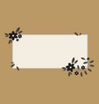 earth tone label with black flower and leaves vector image vector image