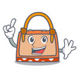 finger hand bag mascot cartoon vector image