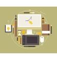 Flat design of modern creative designer workspace vector image vector image