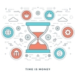 Flat line Time is Money Business vector image vector image