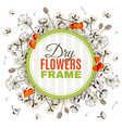 floristic background with dry flowers frame vector image vector image