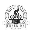 freeride extreme challenge vintage label black vector image vector image