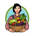 girl or farmer holding a basket full of fresh vector image vector image