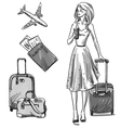 Girl walking with a luggage bag vector image vector image