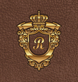 golden royal coat arms embossing on a leather vector image vector image