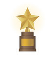 golden star award on brown base gold trophy vector image vector image