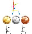 Gymnastics on balance bar and medals vector image vector image