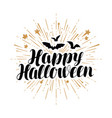 happy halloween greeting card handwritten vector image