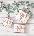 image of gifts on a background of white wooden vector image vector image