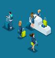 isometric airport passengers pass passport control vector image
