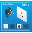 Isometric Switches and sockets set Type D AC vector image vector image