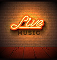live music neon sign with 3d signboard letter on vector image vector image