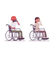 male and female young wheelchair user phone vector image