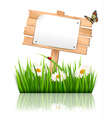 Nature background with grass and sign and a paper vector image vector image