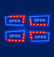 neon open frame arrow set collection template vector image vector image