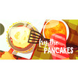 pancakes frying bright color vector image vector image