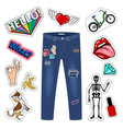 patch on blue jeans fashion girl denim apparel vector image vector image