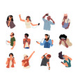 people listen music on smartphone dancing young vector image
