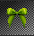 realistic shiny green satin bow isolated vector image