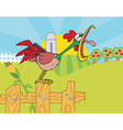 Rooster Crowing On A Fence vector image vector image