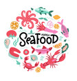 round shape print with color fish and seafood vector image vector image