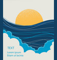 sea wave and yellow sunseascape for text vector image vector image
