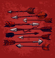 set 9 vintage ethnic indian arrows isolated on vector image