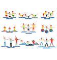 Set of sports people in gym group fitness