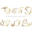 set year rat zodiac symbols vector image vector image