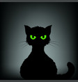silhouette black cat with green eyes vector image