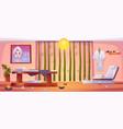 spa salon interior empty room with equipment vector image vector image
