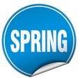 spring round blue sticker isolated on white vector image vector image
