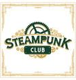 steampunk logotype design victorian era cogwheels vector image vector image