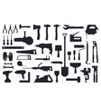 tools silhouette working construction and repair vector image