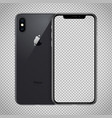 transparent screen black smartphone x with dual vector image