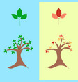 trees with green and red leaves vector image vector image