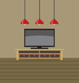 TV Shelf With Ceiling Lights vector image