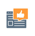 web page with thumb up colored icon best vector image vector image