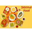 World cuisine popular lunch dishes icon vector image vector image