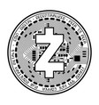 zcash coin black silhouette vector image vector image