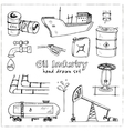 Factory oil industry hand drawn set vector image