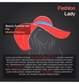 Woman in red hat on black vector image