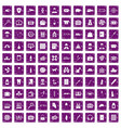 100 case icons set grunge purple vector image vector image