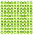 100 dog icons set green circle
