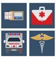 ambulance car ecg medical bag and sign icon vector image vector image