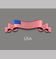 american flag wavy ribbon background vector image vector image